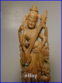 Lakshmi Carved Wooden Sculpture Statue Figurine Hindu Vintage, high end 12 inch