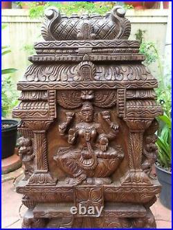Lakshmi Statue Kavadi Hindu Temple Gopuram Wooden Sculpture Vintage Wall Panel