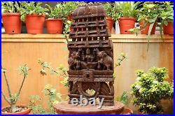 Lakshmi Statue Wooden Wall Panel Kavadi Temple Sculpture Vintage Home Decor Rare