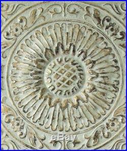 Large Decorative Distressed Vintage Embossed Medallion Metal Wood Wall Panel Art