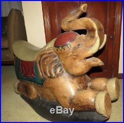 Large Heavy Vintage Carved Wood Rocking Horse Elephant Sculpture Riding Toy