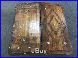 Large Rare Vintage Antique Arabic Hand Made Carving Wood Backgammon & Chess
