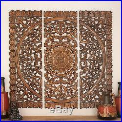 Large Rustic Vintage Tuscan Dark Wood Set 3 Carved Wall Art