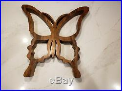 Large VTG Mid Century Modern Abstract Butterfly Wood Sculpture Folk Art