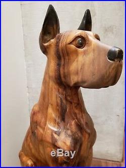 Large Vintage Carved Solid Wood Wooden Great Dane Dog 22 Tall Sculpture Statue