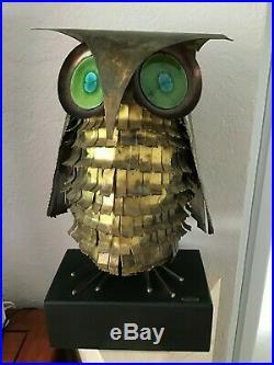 Large Vintage Curtis Jere Brass Owl Sculpture Ceramic eyes 1969