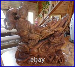 Large Vintage Japanese Carved Root-Wood Sculpture of a Woman & Dragon