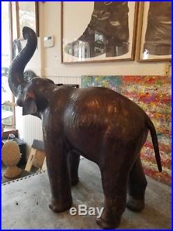 Large Vintage Leather Elephant Figurine Statue Sculpture 36 Tall x 35 x 14