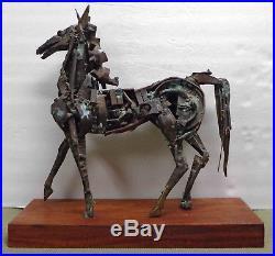 Large Vintage MCM Brutalist Abstract Metal Horse Sculpture on Wood Base