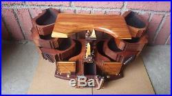 Large Vintage Po Shun Leong 1991 Exotic Wood Landscape Art Box Tulipwood Signed