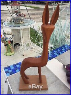 Large Vintage Teak Danish Modern Gazelle Wood Sculpture Art Mid-century 19