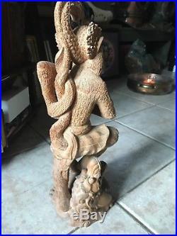 Large Vintage Wood Carved Hanuman Balinese Sculpture- Teak- Signed- Hindu Deity