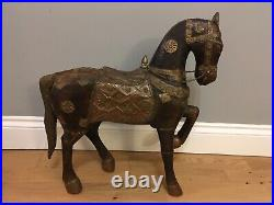 Large Vintage Wooden Metal Horse Sculpture Old Asian 47 cm
