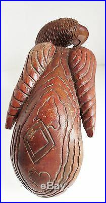 Large Vtg FOLK ART PARROT CARVING HeavyTropical Wood Jamaican Heart Tail