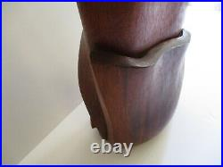 Large Wood Sculpture Carving Sleek Modernism Abstract Vintage Expressionist Art