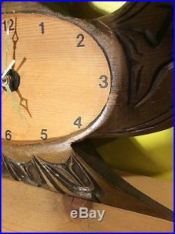 Large vtg Native American cedar wood carved eagle clock tribal whales sculpture
