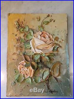 Laszlo Kohanecz Original Sculpture 3d Painting Pink Roses Floral Acrylic 12x9