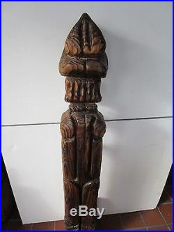 Lg Witco Wood carved Tiki Sculpture 50 fireplace stand with tools Mid century Vtg