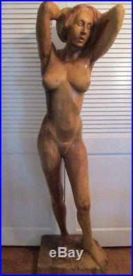 Life Size Signed Large 63 Inch Wood Carving Sculpture Female Model Vintage Pose