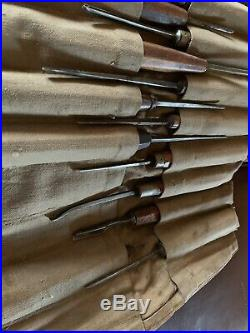 Lot 40 Vintage wood carving chisels England Herring Bros Addis & Son Marsh, Hill