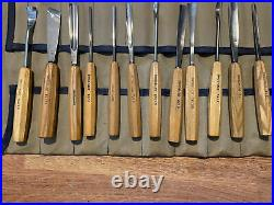 Lot Of 12 Vintage Swiss Made Wood Carving Tools Gouges Chisels