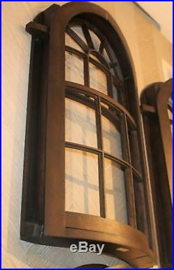 Luxe Solid Oak Wood Window Wall Sculpture Arch Curved Antique Style 33 Panel