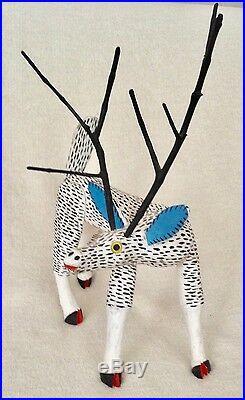 Magnificent Deer Vintage Oaxacan Alebrije Wood Carving by Jose Hernandez