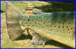 Massive Wood Fish Fly Fishing Lodge Cabin Trout Salmon Sign Sculpture Folk Art