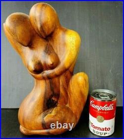 Mid-Century Modern Vintage Hand-Carved Wood Sculpture Nude Male Female Lovers