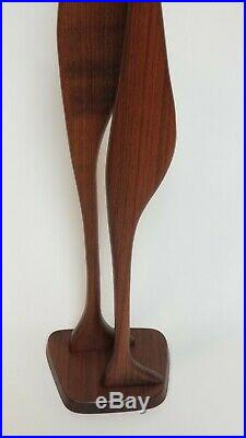 Mid Century Sculpture Teak Wood Birds Herons Val Robbins Vintage 39in