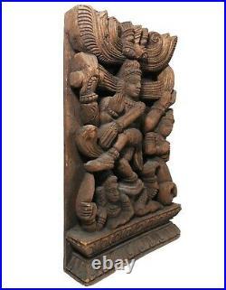 Mid-late 19th C Indian Antique Wood Carving Hindu Goddesses Lakshmi Kali Matsya