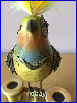 Mullanium Jim Tori Mullan Steampunk Sculpture Bird on MOP Binoculars Assemblage