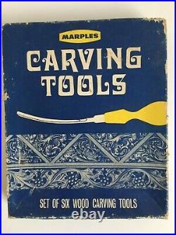 NEW Vintage No. 152 x 6 MARPLES Carving Tools Wood Chisel Set & Carving Book