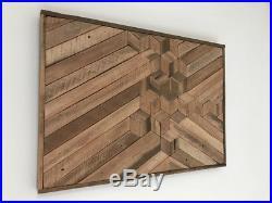 Natural wood wall art, rustic, vintage, handmade, reclaimed lath wood