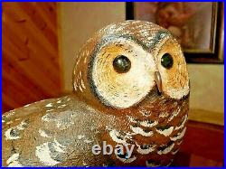 Northern Spotted Owl Art Wood Bird Carving Decoy Carved Signed by Casey Edwards