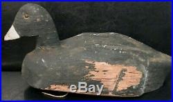 OLD ANTique vintage Primitive COOT Decoy Wood Carving with Tack EYES Folk Art
