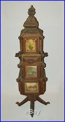 Old Antique Vtg Early 1900s Fantastic Tramp Art Photo Tower 42 Tall Great Folk