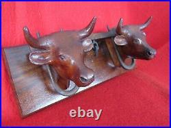Old Carved Wood Oxen Team Black forest Sculpture Wooden OX Plaque vintage cattle