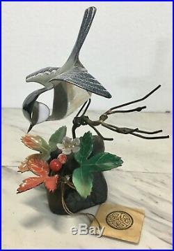 Old Norman Brumm Chickadee Bird W Strawberry Enamel Copper On Wood Sculpture