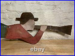 Old Vintage American Folk Art Wood Weathervane Like Sign Carving Of A Whaler