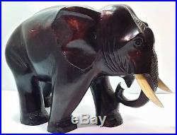 Old Vintage Japan Japanese Artist Carved Wood ELEPHANT Statue Beautiful Carving