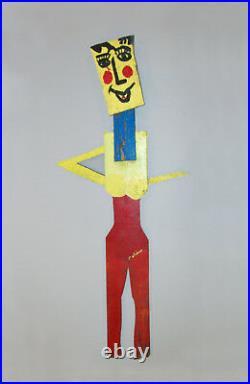Old Vtg 1970s George Colin Outsider Art Wooden Figure of Woman 54 Tall Signed