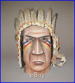 Old Vtg C 1960s Large Carved Folk Art Native American Indian Head Original Paint