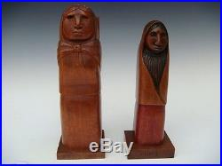 Old vintage Mexican wood carving sculpture woman figure by ARIAS 10 1/2 tall