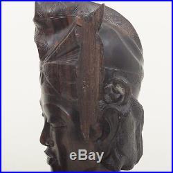 Pair 2 Vintage Bali Carved Wood Sculpture Busts Hardwood Tribal Man Woman 12