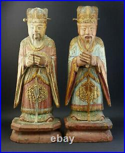 Pair Antique Chinese Carved Wood Polychrome Painted Standing Officials Figures