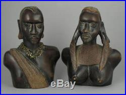 Pair Large Vintage African Tribal Hand Carved Wooden Maasai Busts Sculpture 11