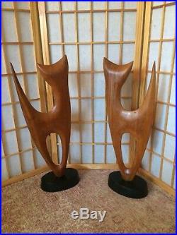Pair Of Vintage Mid Century Siamese Cat Statues Wood Sculptures Big 2 Feet Tall