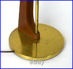 Pair Sculptural Vintage Mid Century Modern Double Socket Table Lamps Walnut