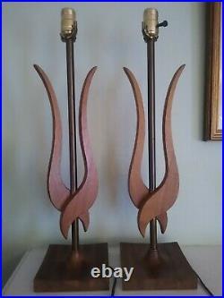 Pair Vintage Mid Century Danish Modern Sculptured Wood 22 Table Lamps Teak VGC